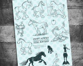 Horse stamps, horse stamp, rubber stamp, draft horse, percheron horse, Starving Artistamps