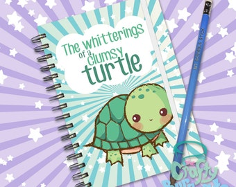 The whitterings of a clumsy turtle - Hand made, wire bound 200 page notebook jotter and custom pencil