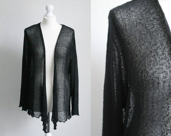 Vintage XXL black sheer cardigan