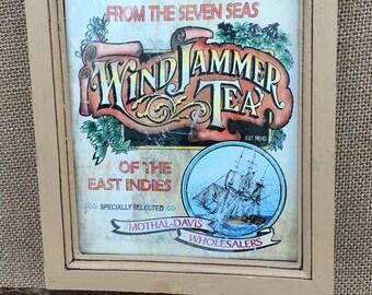 WindJammer Teas Vintage Style Framed Wall Hook Sign Hanger ~ Craft Supplies ~ Hanging Rack ~ Kitchen Hooks ~ Vintage Grocery Ad Label ~ Ship