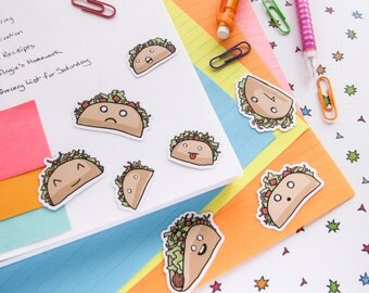 Crazy Taco Stickers, Paper Stickers, Journaling, Sticker Flakes, Cute Food, Funny, Humor, Silly, Stationery, Scrapbooking, Kawaii Food