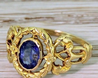 Art Nouveau 0.50 Carat Oval Cut Sapphire Solitaire Ring, circa 1910