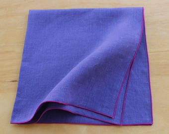 Purple Linen Napkins, Purple Dinner Napkins, Cloth Dinner Napkins, Purple Wedding, Wedding Napkins, Choose Your Trim Color, Set of 4, 20""