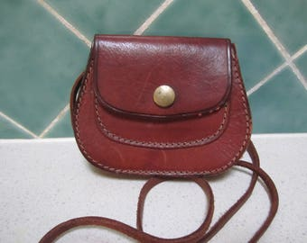 Vintage Brown Leather Cross Body Bag - Small - Hand Made - Purse