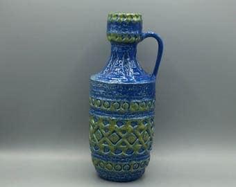 Spara Edel - Keramik 557 - 25, rare blue vintage vase 1970s, Mid Century West Germany Pottery. WGP.