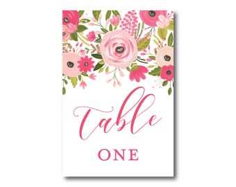 Wedding Table Numbers, Floral Table Numbers, Printed Table Numbers, Wedding Table Numbers, Table Number Sign, Reception Table Number #CL333