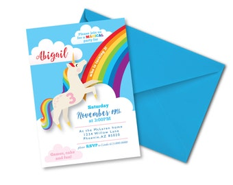 Rainbow Unicorn Invitation, Printable, Customized, DIY invitation, Girl's Unicorn Party, Unicorn Invite, Rainbow primary colours