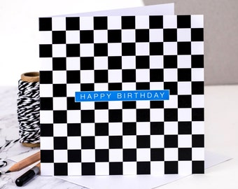 Birthday Card; Happy Birthday Card; Black And White Geometric Birthday Card; Birthday Card For Him; Card For Dad; GC175