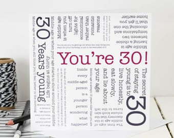 30th Birthday Card; 'You're 30'; GC071