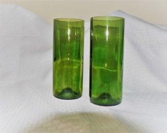 Green Wine Bottle Drinking Glasses