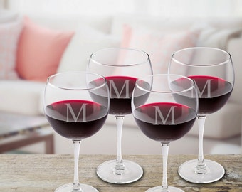 Set of 4 Red Wine Glasses - Personalized Wine Glasses - Wine Glass Set - Red Wine Glasses - Home Bar Decor - Bar Accessories - GC950
