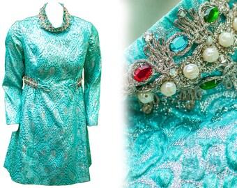 década de 1960 gran vestido brillo metálico Plata brocado azul joya Glam Mod Plus tamaño Mini Retro cóctel locos Holiday discoteca vistiendo de traje