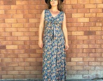 Grunge, Dusty Blue, Blood Orange, Blossom, Rayon, Ties at Bust, Maxi Dress, Size Medium M
