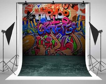 Kate Graffiti Brick Wall Photography Backdrop Newborn Baby Birthday Photo Backgronds for Children Backdrop Studio J01804