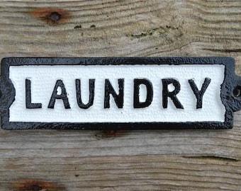 Cast iron vintage style LAUNDRY door sign black & white SSL