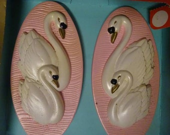 Vintage, Mid Century Miller Studios Chalkware White Swans on Flamingo Pink Background Decorative Wall Plaques  FREE SHIPPING 50s,60's Retro