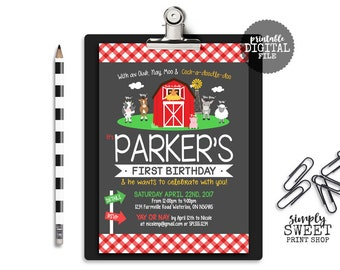 Farmer Birthday Invitation Farm Animals Birthday Invite Cow Horse Pig Sheep Rooster Barn Chalkboard Plaid Red White Green Nay Moo First 1st