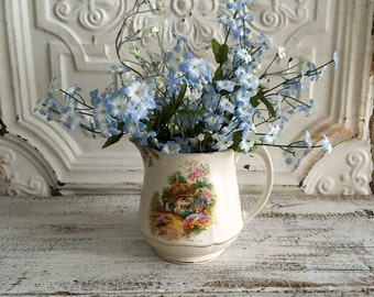 Porcelain Pitcher, Flower Vase, Falcon Ware, Made in England in the 1940's, Cottage Style Pitcher, Water Jug, Pitcher With Cottage Scene
