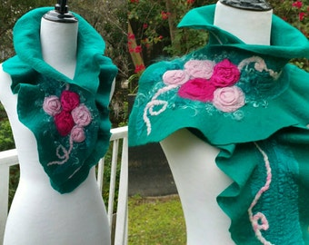 Nuno Felted Ruffle Scarf in Teal Green and Pink with Romantic Silk Roses.  Shabby Chic Scarf.  Felted Wool and Silk Collar. Wearable Art.