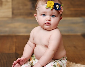 felt Flower Headband, Headband, Newborn headband, toddler Headband, Blush, Navy blue, mustard nylon headband, halo felt headband