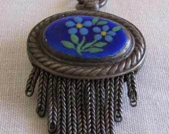 Sterling Silver Double Sided Blue Floral Hand Painted Pendant.