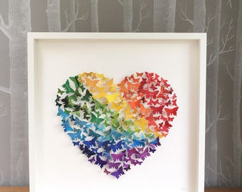 Personalised art. Butterfly art. Heart wall art. Rainbow heart picture. Birthday gift. Anniversary present. Paper wedding anniversary gift.