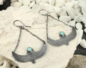 Turquoise earrings - Sleeping beauty turquoise - Scarab earrings - Egyptian earrings - Handmade
