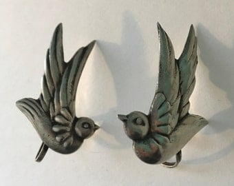 Sterling Silver Swallow Sparrow Bird Earrings 1970s vintage from Mexico 925