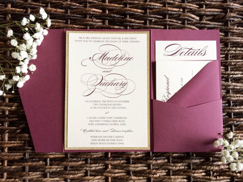 burgundy wedding invitation burgundy and burgundy wedding invitations Burgundy Wedding Invitation Burgundy and Gold Glitter Pocket Wedding Invitation Marsala Invitation Wine Invitation