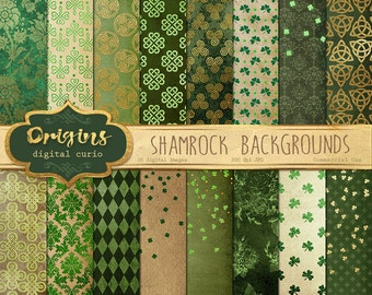 Shamrock Digital Paper, Green Celtic Digital Paper, St Patrick's Day, Shamrock patterns, clover, ...