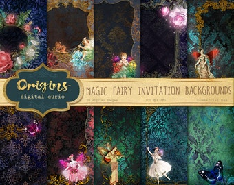 Magic Fairy Invitation Backgrounds, 5x7 digital paper, invitations, enchanted fantasy flower pixie printable journal pages instant download