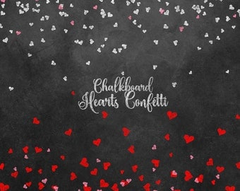 Chalkboard Hearts Confetti Clipart, Chalkboard Valentine Valentine's Day clip art, pink, red and white heart confetti png digital overlays