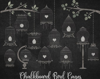 70% OFF Chalkboard Bird Cages clipart, chalk birdcage clip art, blackboard texture, png wedding clipart instant download commercial use