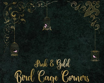 Pink and Gold Birdcage Corner clipart, gold PNG digital graphics, wedding, shabby chic bird cage, vintage ornamental border flourishes