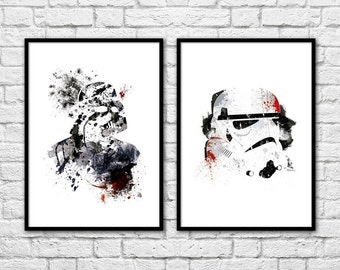2 Art-Posters 30 x 40 cm - Star Wars Vador and Storm