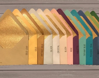 Gold Glitter Lined Metallic Euro Flap Envelopes - 25 pack