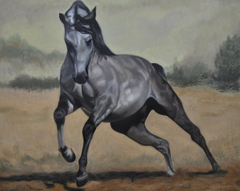 Horse painting, Animal painting, Original art, Oil on Canvas, Horse running, Realism,  Handmade Art, certificate attached ,23,6 x 23,6 in