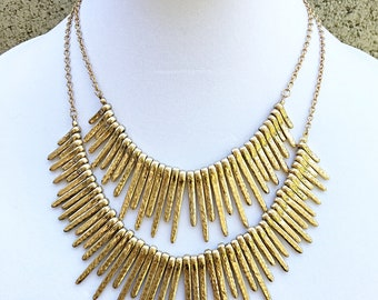 Set of 2 Layered Gold Spike Necklace / Gold Spike Necklace.