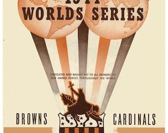 1944 World Series Poster Cardinals vs Browns