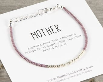 Modern SILVER Mother Bracelet, mothers day from daughter, birthday gift, mother daughter gifts, mom gift, mothers jewelry