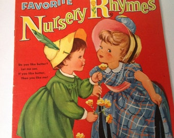 Nursery Rhymes book, Favorite nursery rhymes, retro illustrations, 1950s book, retro nursery, boy's room, girl's room