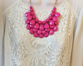 Fuchsia Magenta Hot Pink Bubble Bib Beaded Chandelier Layered Statement Necklace with matching Earrings