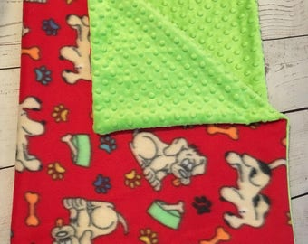 Personalized Dog Blanket,Minky Pet Blanket,Crate Blanket,Monogrammed,Blanket for Puppies,Green Minky Dot,Fleece Dog Blanket,Red,Dog Bed