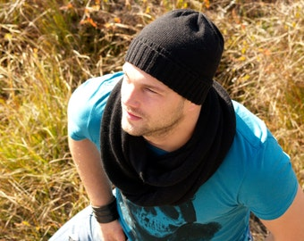 Men's Scarf and hat Black Chunky Scarf for Men Unisex Scarf hat Winter Accessories Black circle scarf and hat