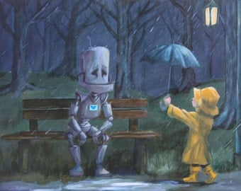 Bench Bot- robot painting print