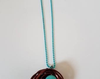 bird nest necklace made wire buttons and wire wrap