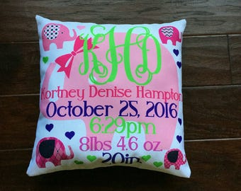 Baby Stats Pillow
