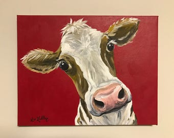 Cow Painting on canvas. Original cow painting,  cow art in acrylics on stretched canvas, cow with red background