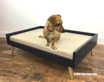 Elevated  Pet Bed with Mid Century Modern Lines - Solid Wood - Tapered Legs - Hand Crafted-  Choose your Color Scheme - Choose your Color