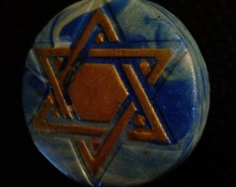 Gold Star of David on Blue Sea Background, Polymer Clay Star of David, Colorful Star of David, Blue Star of David